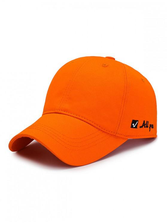fancy Letter Embroidered Graphic Baseball Hat - TANGERINE