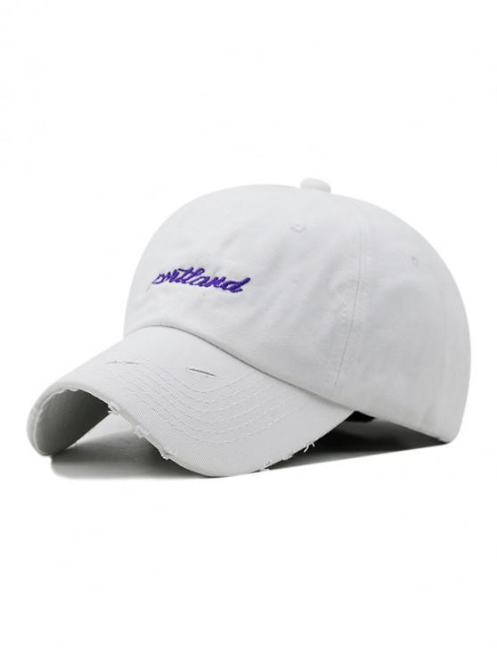 sale Letter Embroidered Ripped Baseball Hat - WHITE