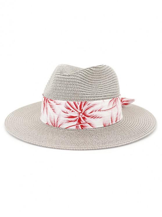 ladies Coconut Tree Print Beach Straw Hat - GRAY