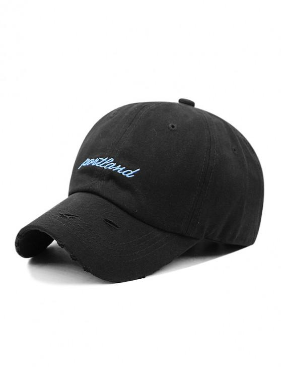 new Letter Embroidered Ripped Baseball Hat - BLACK
