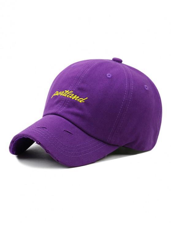 Sombrero de beisbol bordado con letras bordadas - Púrpura