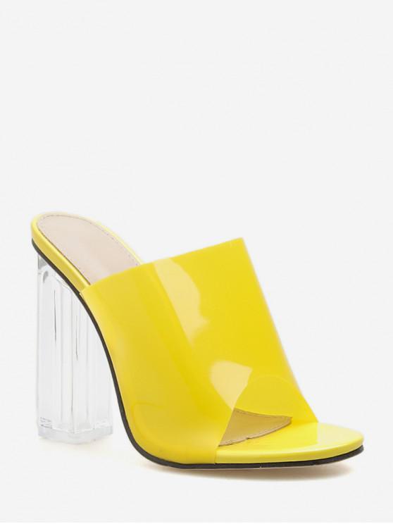 Sandales à Talon Super Haut en PVC Transparent - Jaune EU 39
