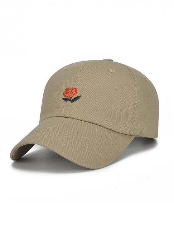 Sombrero de beisbol bordado flor y letras - Caqui
