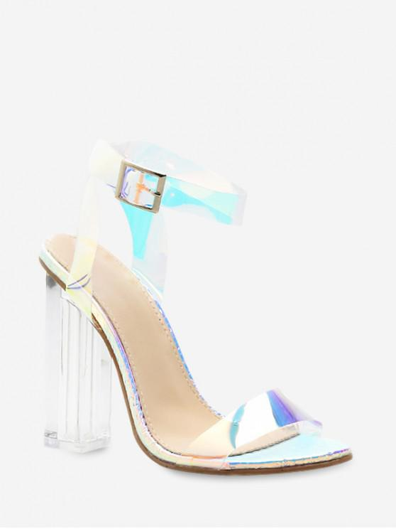 chic Snake Pattern PVC Super High Heel Sandals - SILVER EU 41
