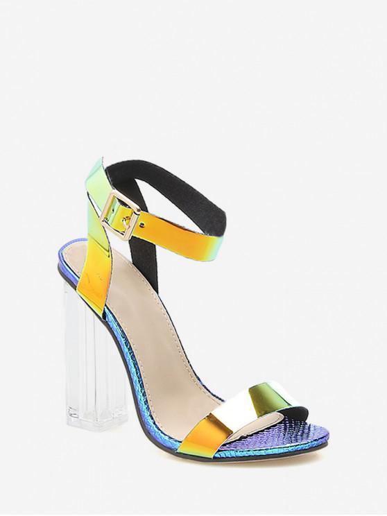 Sandalias de tacón grueso de PVC con diseño de piel de serpiente transparente - Azul Pizarra EU 41