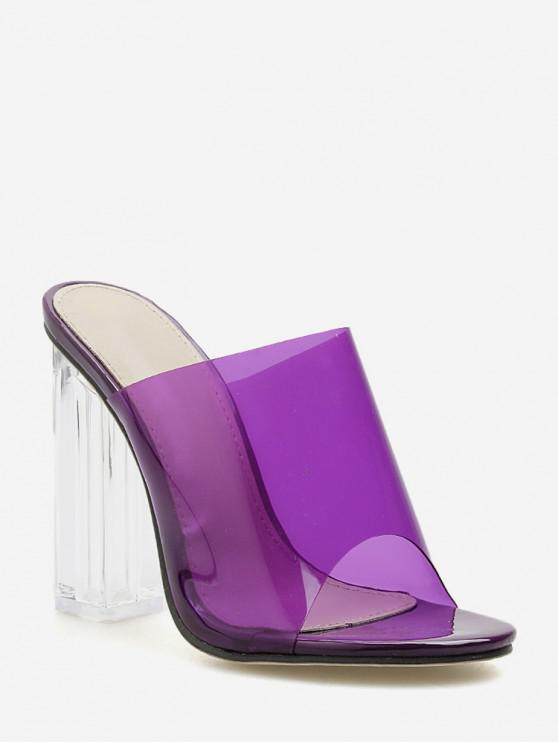 shops PVC Clear Super High Heel Slides - PURPLE IRIS EU 36