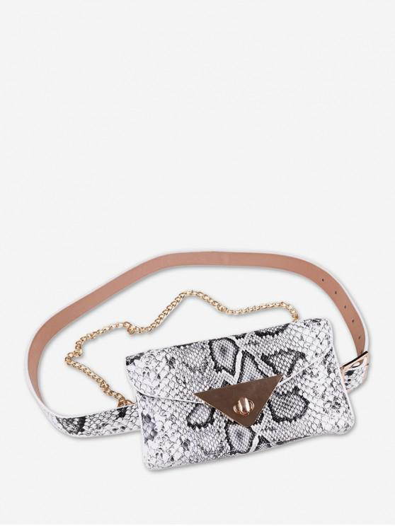 chic Textured Decoration PU Fanny Pack - WHITE