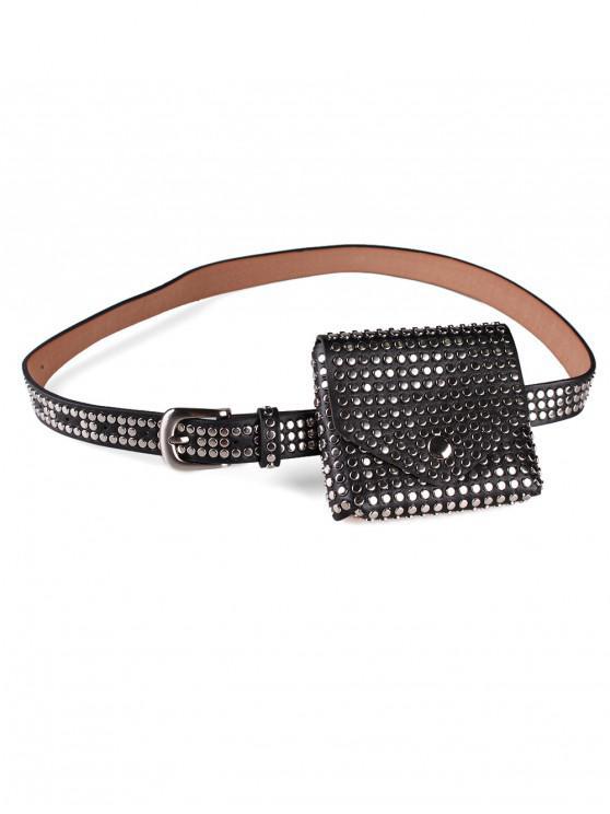 affordable Rivet Embellished Fanny Pack Belt - BLACK