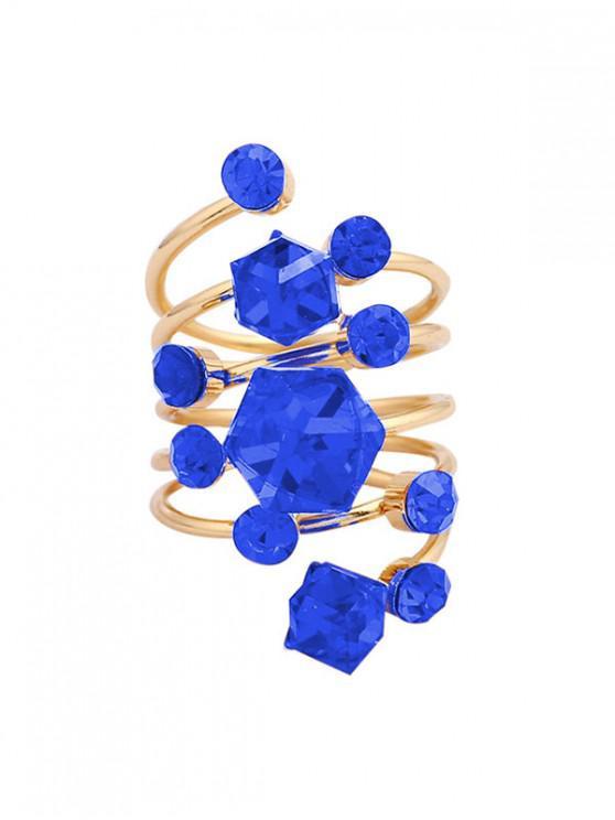 Anillo de primavera geométrico de cristal de imitación - Azul