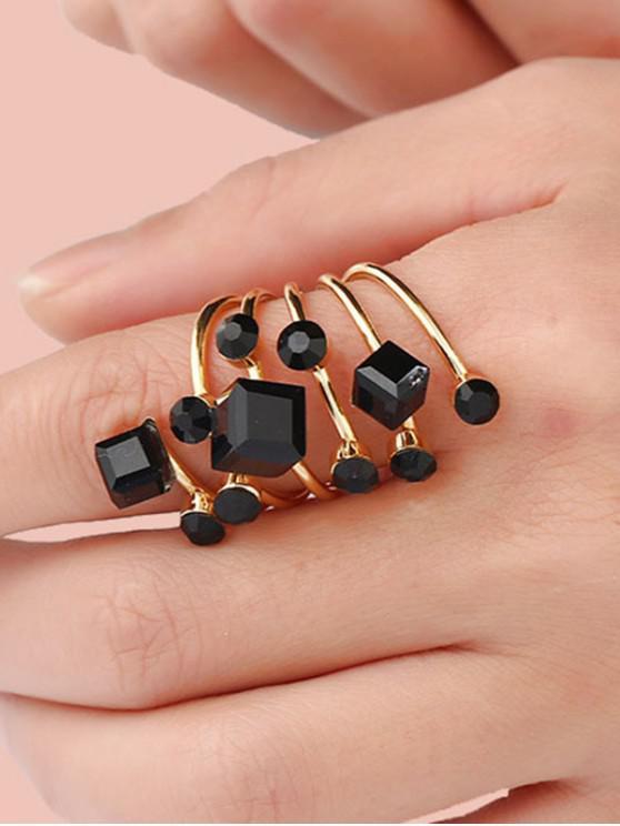 Anillo de primavera geométrico de cristal de imitación - Negro