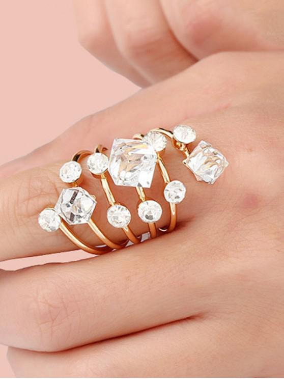 shop Faux Crystal Geometric Spring Ring - WHITE