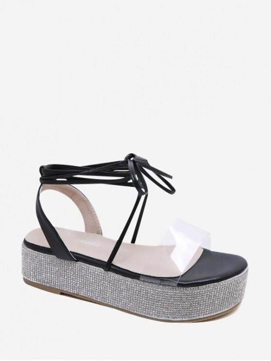 Sandalias de plataforma con cordones de diamantes de imitación - Negro EU 36