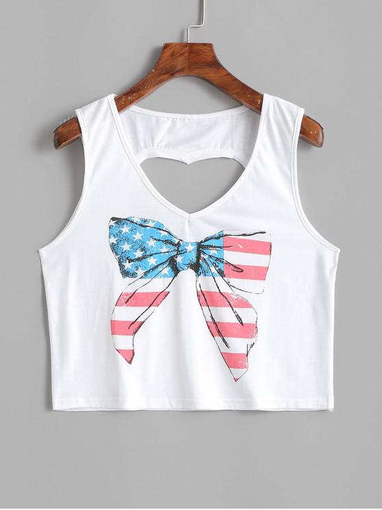 womens Bowknot Heart Cut Out American Flag Tank Top - MILK WHITE XL