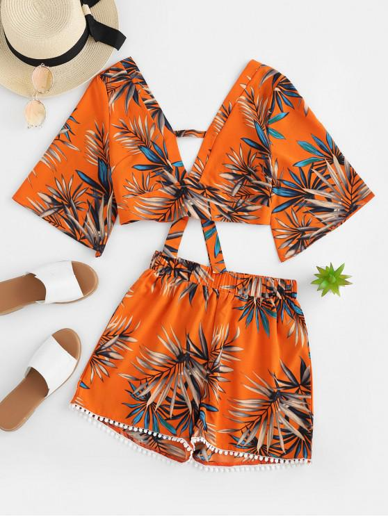 affordable ZAFUL Leaves Print Cut Out Crochet Trim Shorts Set - MULTI XL