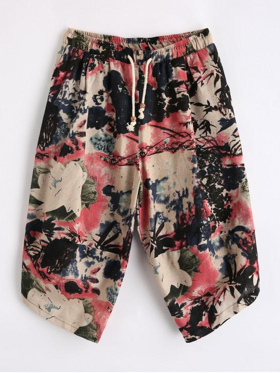 fashion Floral Ink Painting Tribal Print Splicing Cropped Pants - MULTI L