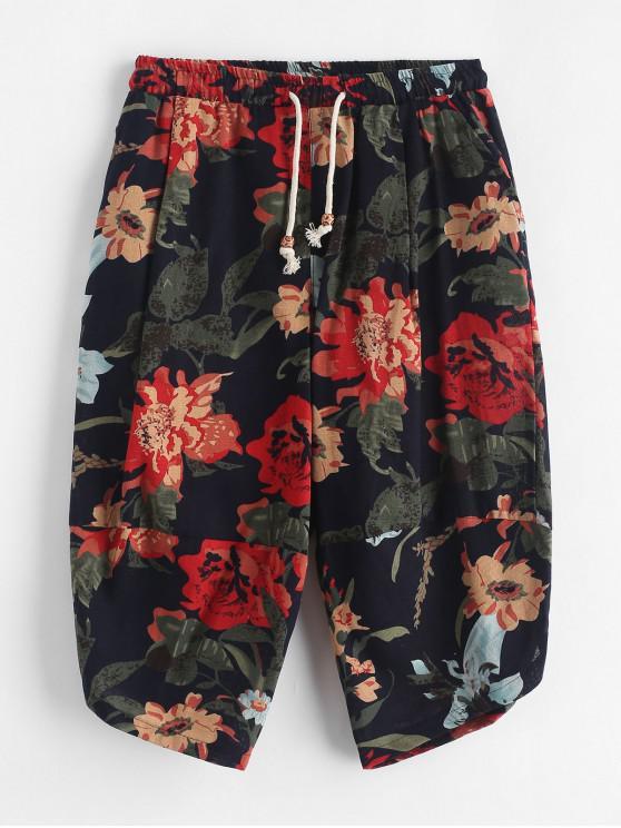 Tribal estampado de flores empalmado pantalones recortados casuales - Multicolor XL