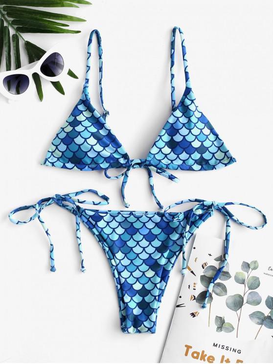 women's ZAFUL Mermaid Print String Bikini Swimsuit - MULTI-A L
