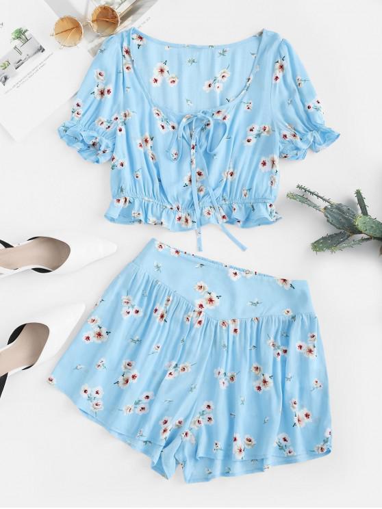 best ZAFUL Flower Ruffle Keyhole Loose Shorts Set - LIGHT SKY BLUE S