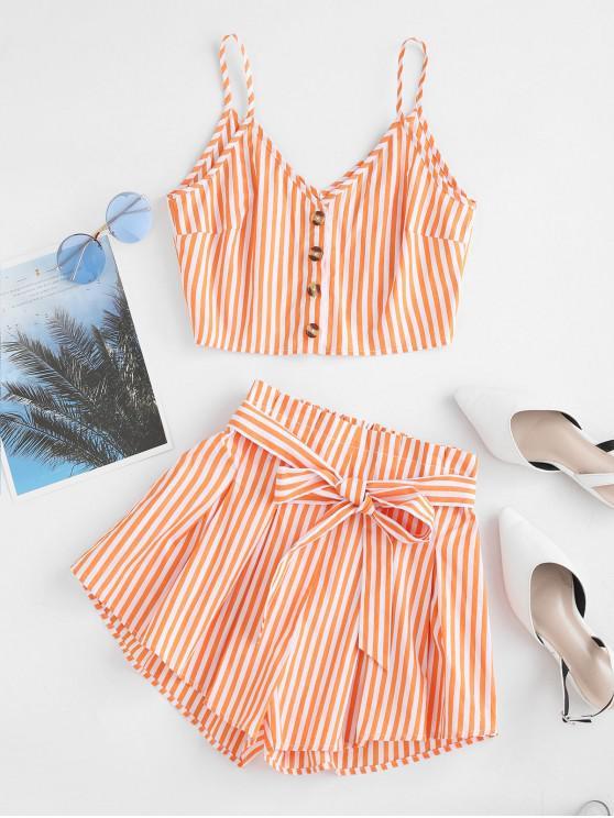 sale ZAFUL Button Up Striped Cami Crop Top And Paperbag Shorts - MANGO ORANGE M