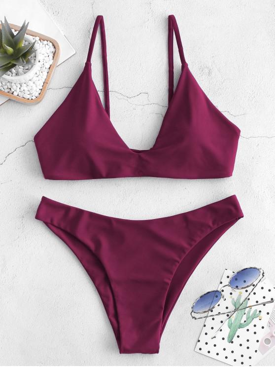 buy ZAFUL Tie Bralette Bikini Set - PLUM VELVET M