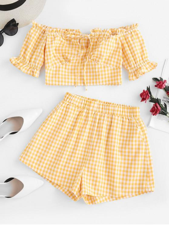 women's ZAFUL Gingham Off The Shoulder Co Ord Set - YELLOW M