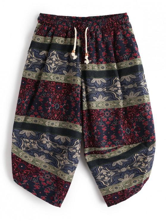 unique Ethnic Tribal Floral Print Casual Cropped Pants - MULTI L