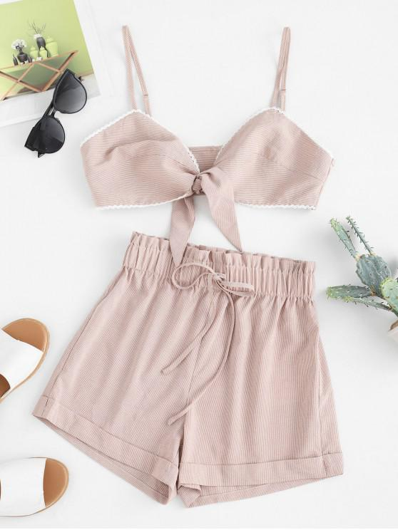 outfit ZAFUL Striped Crochet Insert Paperbag Shorts Set - LIGHT BROWN S