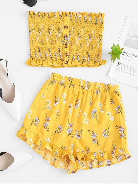 ladies ZAFUL Floral Print Smocked Frilled Bandeau Top And Shorts - BRIGHT YELLOW M