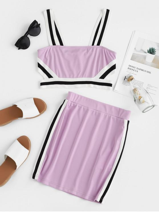 affordable ZAFUL Striped Trim Sleeveless Crop Top And High Waist Skirt - MAUVE L