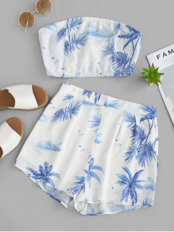 ladies ZAFUL Island Palm Tree Bandeau Top And Shorts Set - WHITE M