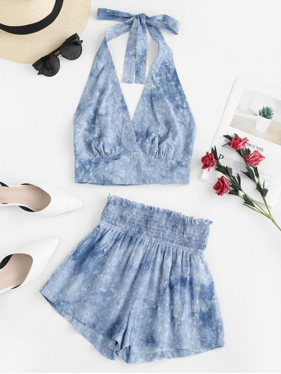 lady ZAFUL Smocked Tie Dye Crop Halter Top and Shorts Set - MIST BLUE S