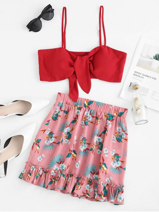 chic ZAFUL Bow Tie Cami Crop Top And Flower Mini Skirt - RED WINE M