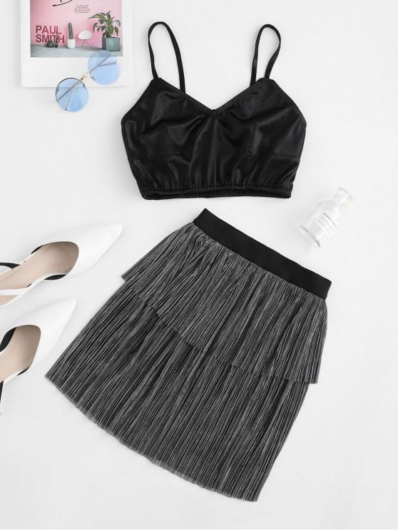 best ZAFUL Bralette Top And Shiny Layered Skirt Set - BLACK L