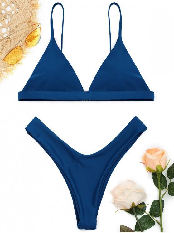 trendy Soft Pad Spaghetti Straps Thong Bikini Set - LAPIS BLUE M