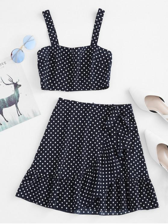 outfits ZAFUL Shirred Flounce Polka Dot Two Piece Dress - NAVY BLUE L
