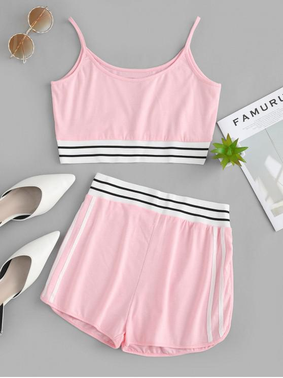 shop Striped Cami High Waisted Shorts Set - PIG PINK S