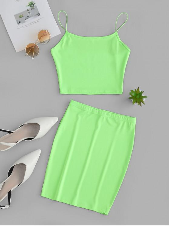 womens Crop Camisole with Mini Bodycon Skirt - LAWN GREEN S