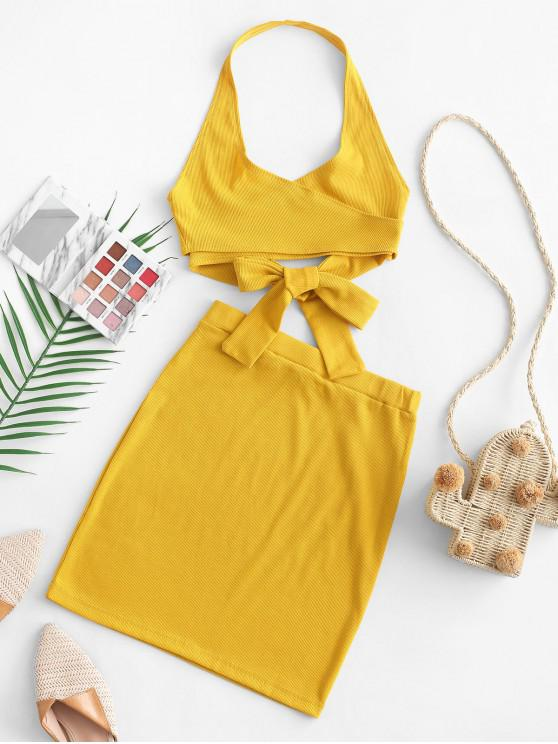 chic Halter Solid Wrap Top and Skirt Set - GOLDENROD M