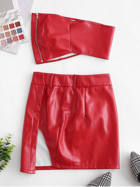 chic Zip Up Faux Leather Top and Skirt Set - RED M