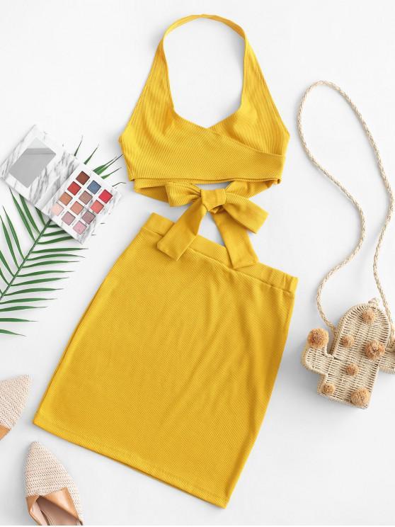 sale Halter Solid Wrap Top and Skirt Set - GOLDENROD L