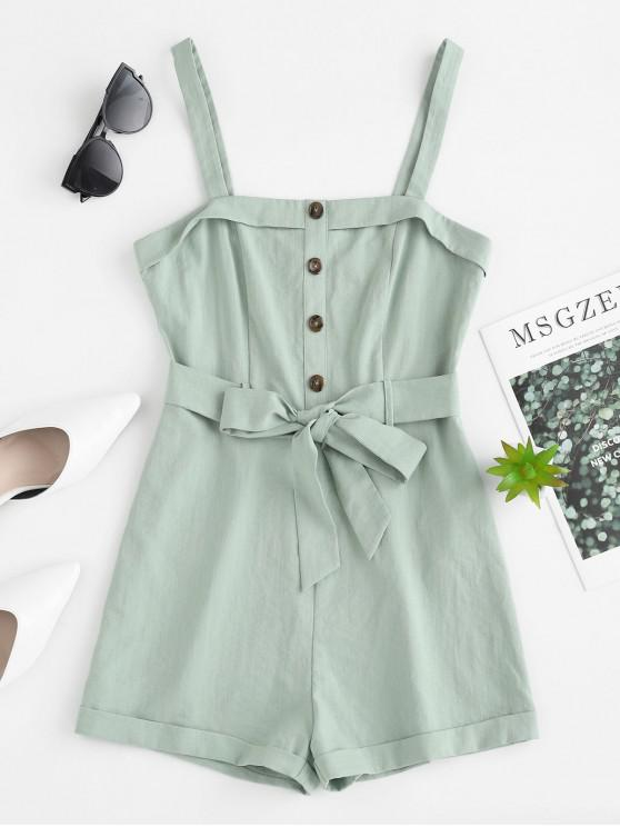 fancy ZAFUL Button Embellished Belted Rolled Romper - CYAN OPAQUE L