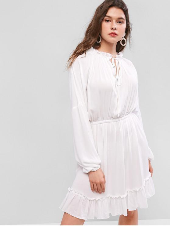 shops ZAFUL Cut Out Bowtie Collar Solid Blouson Dress - MILK WHITE L