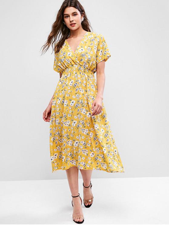 affordable Floral A Line Surplice Dress - GOLDENROD S