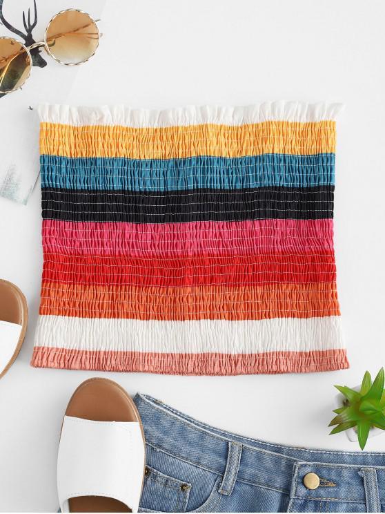 outfits ZAFUL Smocked Rainbow Stripes Bandeau Top - MULTI M