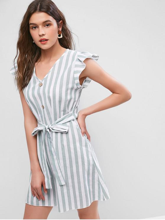 shop ZAFUL Ruffle Armhole Striped Tied Mini Dress - MULTI S