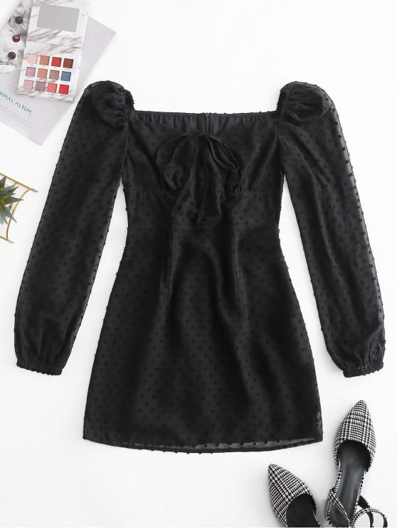 fashion ZAFUL Swiss Dot Bow Tie Milkmaid Mini Dress - BLACK S