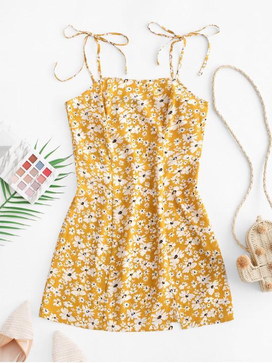 women's ZAFUL Floral Tie Shoulder Cami Dress - BEE YELLOW S