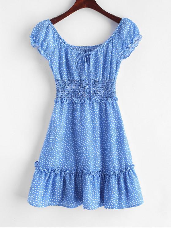 Mini Vestido Volantes Fruncido con Estampado - Azul S