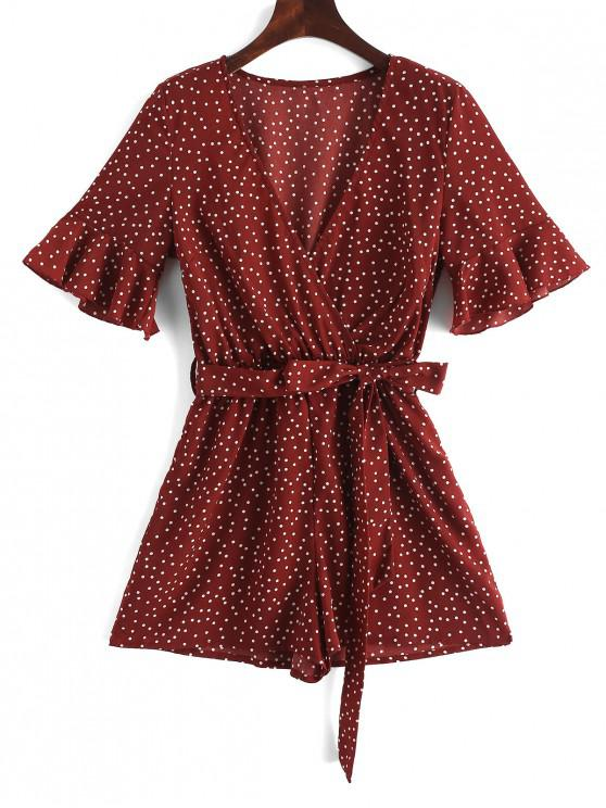 sale Surplice Belted Dotted Romper - RED S