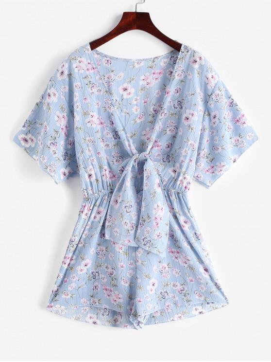 16 Off 2019 Tie Front Cut Out Floral Romper In Light